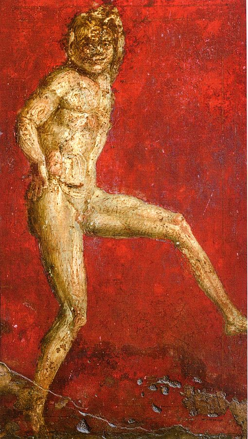 A dancing satyr, fresco from the Villa of the Mysteries, Pompeii, Pompeian Second Style, 1st century BChttps://en.wikipedia.org/wiki/Dionysian_Mysteries#/media/File:Villa_dei_Misteri_Cubiculum_1.jpg